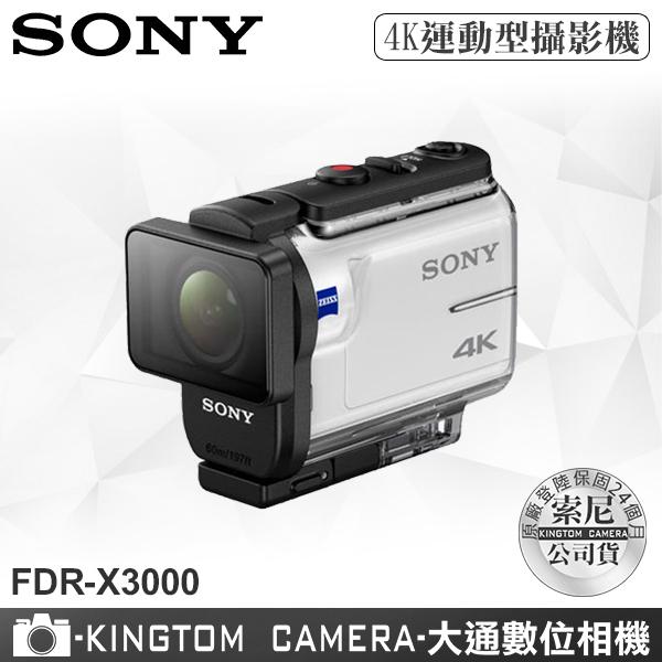 SONY FDR-X3000 4K 運動型攝影機 附防水殼 公司貨再送32G卡+專用電池+座充超值組
