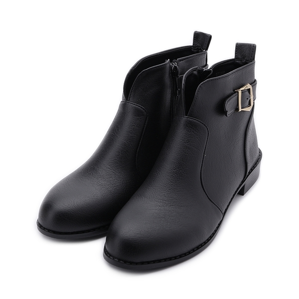 RIN RIN 特大尺碼 皮釦V字短靴 黑 女鞋