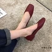 單鞋女平底軟底豆豆方頭復古百搭淺口紅色奶奶鞋夏季【時尚大衣櫥】