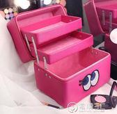 可愛化妝包收納箱專業手提多層化妝箱大容量韓國高檔護膚品收納包   電購3C