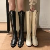 長靴 馬丁靴女英倫風秋冬新款前拉鏈粗跟皮靴時尚白色騎士高筒長靴