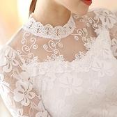 罩衫 蕾絲打底衫女洋氣質秋冬季新款大碼女裝春裝立領顯瘦鏤空網紗上衣易家樂