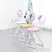 簡約靠背椅子摺疊椅便攜小凳子成人加厚摺疊凳餐椅電腦椅家用圓凳 NMS名購新品