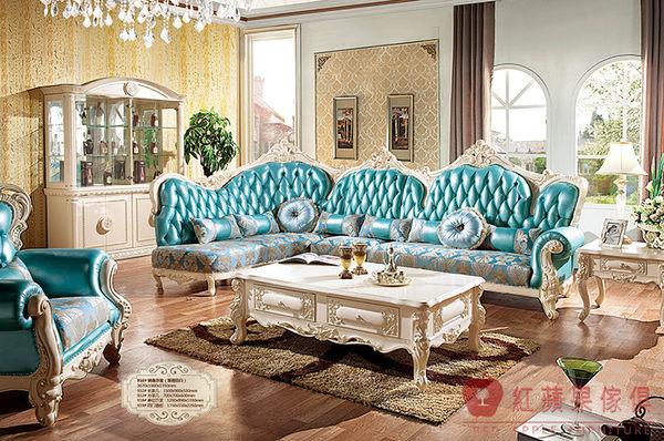 [紅蘋果傢俱] 918轉角 新古典沙發 歐式沙發 法式 皮沙發 真皮 實木雕刻 別墅沙發 歐式 實體賣場