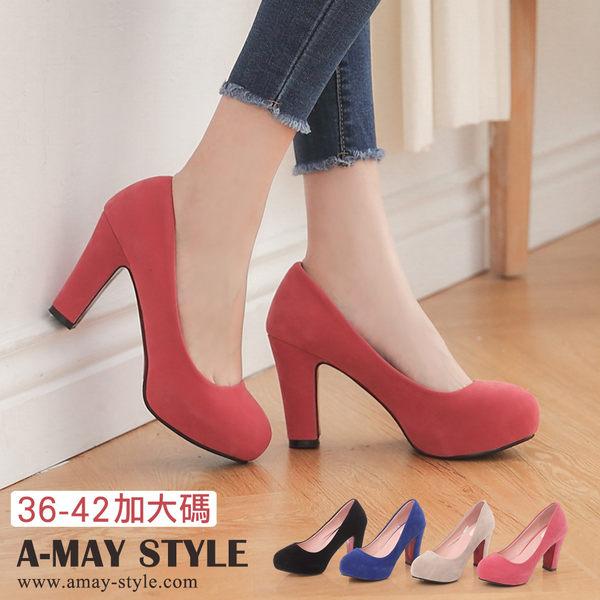 婚鞋-高雅素面圓頭厚底高跟鞋(36~42加大碼)