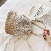 草編包包女2019夏季新款編織蕾絲水桶包手提女包斜挎單肩小包PH3635【棉花糖伊人】