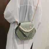小包包女夏季新款蕾絲繡花珍珠手提包仙女鍊條斜背包古風漢服 聖誕交換禮物