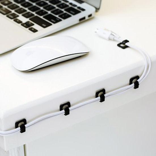 自黏電線固定器(18入) 卡子 電線 固定夾 線網 整理器 數據線 固線【M177】慢思行