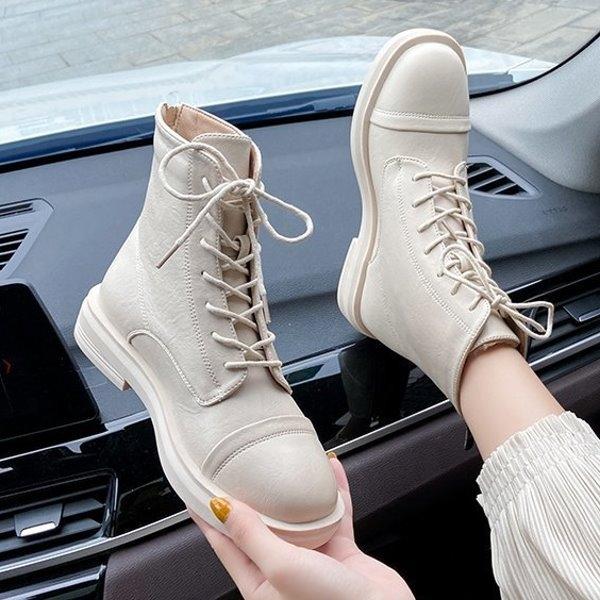 靴子.韓系街頭拉鍊拼接綁帶短靴.白鳥麗子