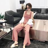 韓國ins顯瘦小清新復古chic寬鬆顯瘦方領百搭純色吊帶連衣褲 萬聖節服飾九折