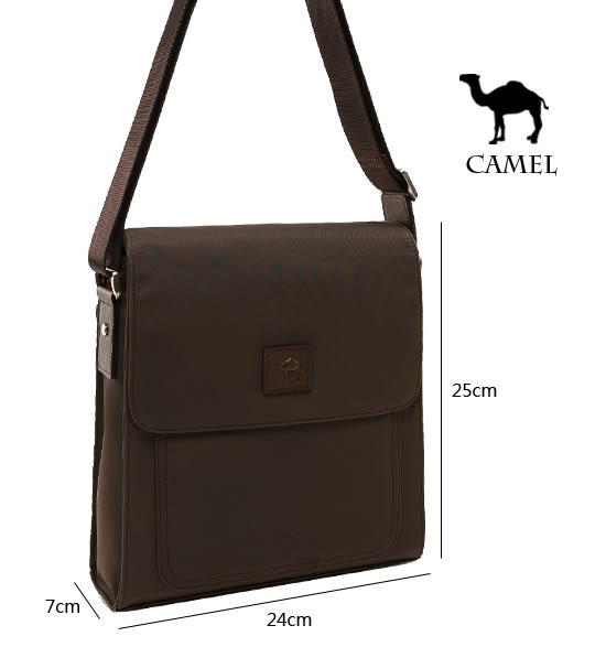 CAMEL - 倫敦品味十字紋防潑水牛皮直立側背包-質感咖