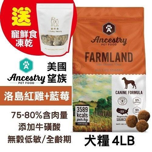 48H出貨送寵鮮食凍乾X1 Ancestry 美國望族 天然犬糧(無穀系列)洛島紅雞+藍莓 4LB/包 100%美國在地生產