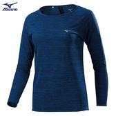 MIZUNO 女裝 上衣 長袖 T恤 慢跑 路跑 吸汗 快乾 透氣 反光燙印 藏藍【運動世界】J2TA973215