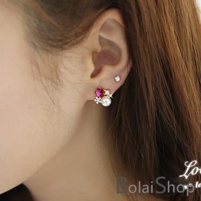 (現貨販售)無耳洞耳環一對 新款韓系淡雅花朵珍珠水鑽耳夾 R179系列【寶來小舖 BOLAI SHOP 】