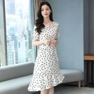 魚尾洋裝 波點雪紡連身裙 2020新款收腰顯瘦智熏裙法式桔梗氣質裙子 TR1083『寶貝兒童裝』