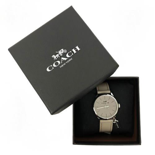 【COACH】經典 LOGO立體小吊牌皮革錶帶石英錶女用手錶(灰)
