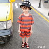 中大尺碼 童裝男童夏季短袖套裝2019夏款新款兒童夏裝兩件式 qz4803【野之旅】