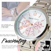 【贈盒】男女對錶 鍊帶錶 三眼造型大理石紋路 金屬質感都會設計  ☆匠子工坊☆【UQ0027】
