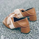 網紅單鞋女秋季新款百搭高跟溫柔晚晚仙女豆豆鞋小皮鞋潮—聖誕交換禮物