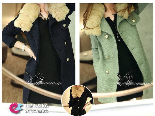 大衣*艾爾莎*【TAE0023】時尚可拆式兔毛領圍雙排金釦大衣外套