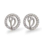 耳環 925純銀鑲鑽-小巧鏤空生日情人節禮物女飾品73dm240【時尚巴黎】
