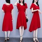 雪紡洋裝 2021夏裝新款中年女人雪紡連身裙女 夏季氣質小個子收腰顯瘦紅色禮服裙