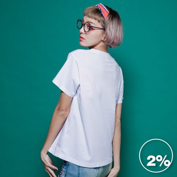 【2%】刺繡英文字短袖上衣-白