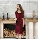 洋裝2021年新款女裙子洋氣方領修身顯瘦緊身裙氣質魚尾中長裙秋 蘿莉新品