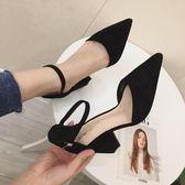 女高跟鞋 韓版女鞋子 春夏新款拼色一字扣絨面粗跟淺口女單鞋尖頭高跟鞋《小師妹》sm3354