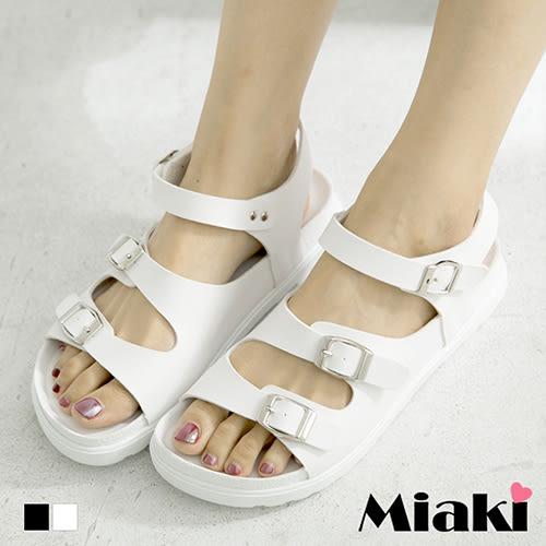 涼鞋歐美簡約鏤空金屬釦厚底涼拖 (MIT)