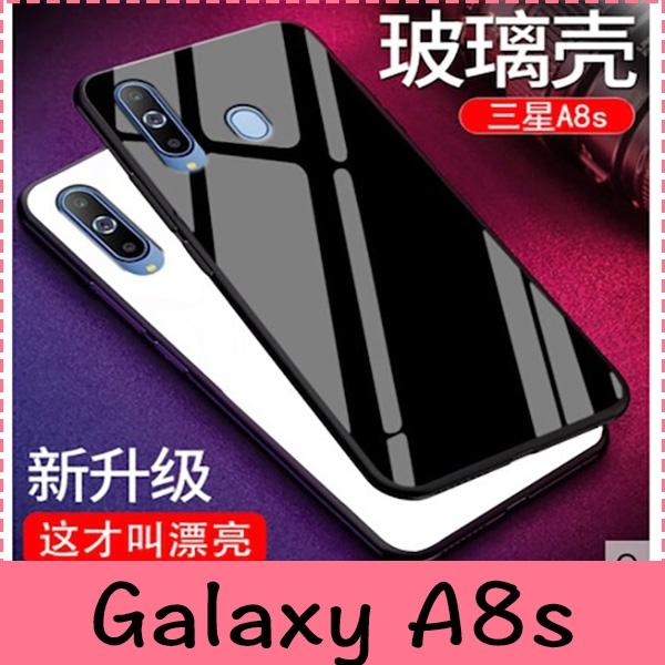 【萌萌噠】三星 Galaxy A8s (6.4吋)  簡約純色男女鏡面系列 全包軟邊+鋼化玻璃背板保護殼 手機殼