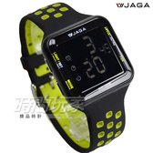 JAGA捷卡 液晶顯示 方形多功能運動防水電子錶 防水 女錶 男錶 運動錶 學生錶 軍錶 M1179-AF(黑綠)