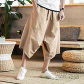 沙灘褲泰國大象寬管褲燈籠褲男大碼胖子寬鬆亞麻短褲七分褲大襠沙灘褲夏 衣櫥秘密