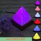 鹽燈 喜馬拉雅水晶鹽燈創意迷你電腦桌USB小夜燈LED金字塔養生燈