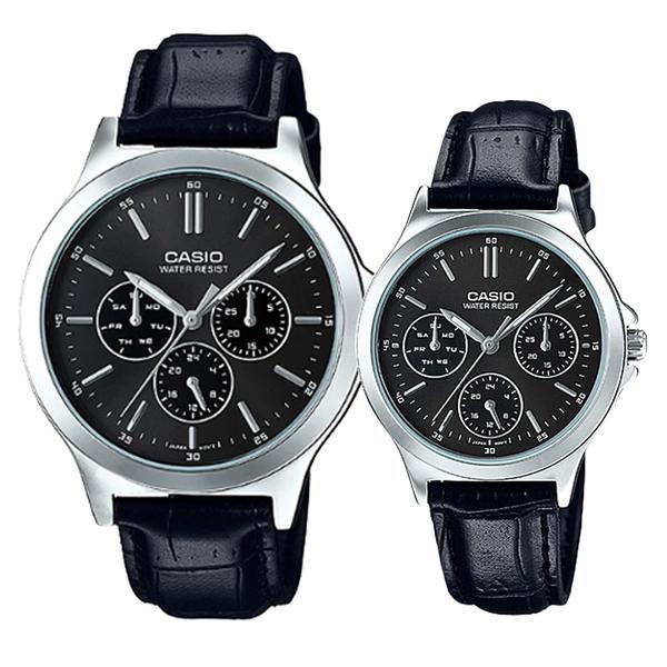 CASIO 卡西歐 手錶專賣店 MTP-V300L-1A+LTP-V300L-1A 對錶 指針錶 皮革錶帶