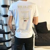 短袖上衣男日繫T恤男士短袖潮牌韓版潮流蜜蜂刺繡圓領半截袖港風修身體恤 快速出貨