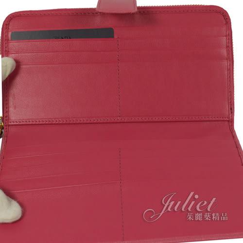 茱麗葉精品 全新精品 PRADA 1ML348 經典浮雕LOGO防刮皮革雙層式長夾.桃紅