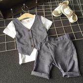兒童小西裝男童短袖套裝夏季花童禮服男孩帥氣兩件套2018新款潮衣 森活雜貨