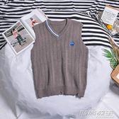 韓版卡通刺繡V領針織背心男秋季文藝青年毛衣潮流寬鬆破爛毛線衣  時尚教主