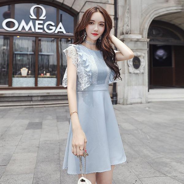 VK旗艦店 韓系氣質修身浪漫蕾絲拼接無袖洋裝