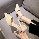 韓版一字扣仙女針織單鞋春夏新款小清新百搭尖頭細跟高跟鞋女 雙12全館免運