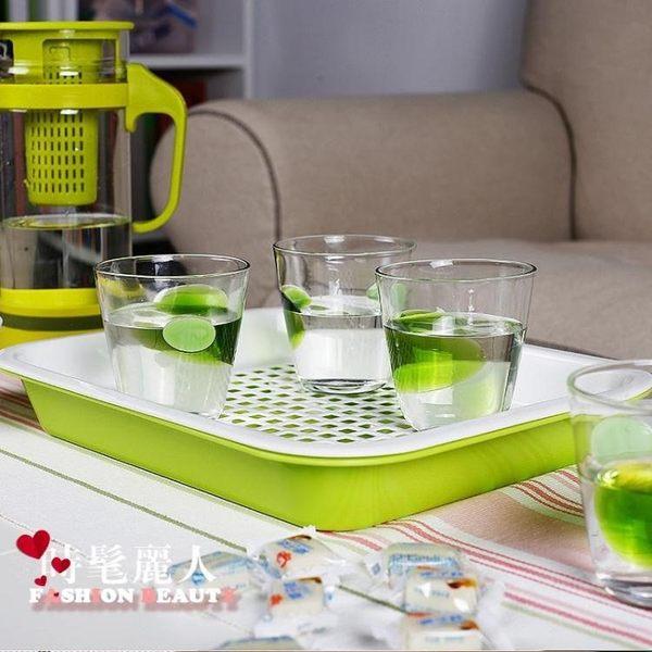 茶花塑料托盤長方形快餐盤托盤酒店餐具盤雙層茶盤水果盤茶盤 快速出貨