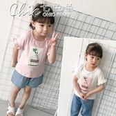 寶寶可愛貼布上衣夏裝兒童花邊短袖打底衫女童百搭T恤「Chic七色堇」