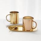 北歐設計304不鏽鋼馬克杯 金色鍍銅咖啡杯牛奶杯 防燙水杯