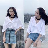 2018夏季新款OL氣質百搭純色短袖襯衫女韓版寬鬆領口綁帶學生上衣  Cocoa