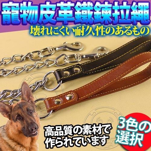 【培菓幸福寵物專營店】DYY》寵物皮革好擋頭鐵鍊拉繩120cm防止狗咬斷-2mm