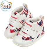 《布布童鞋》台灣製美國國旗紅色中筒寶寶機能學步鞋(13~15公分) [ Z1CG13A ]