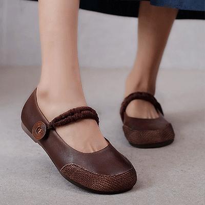 真皮手工女鞋 擦色平底鞋 森女日系休閒鞋/2色-夢想家-標準碼-0409