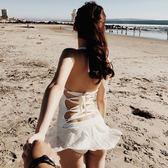 【雙12】全館大促露背交叉綁帶性感連體裙式泳衣女保守