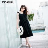 中大尺碼 甜美蝴蝶結肩綁帶收腰洋裝~共兩色 - 適XL~4L《 66128i 》CC-GIRL